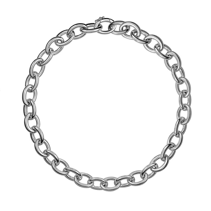Small silver oval link necklace, J00906-01, hi-res
