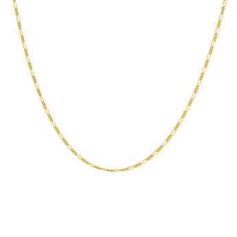 Gold plated Figaro chain necklace, J04613-02, hi-res