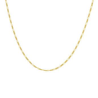 Cadena combinada eslabones plata recubierta oro, J04613-02, hi-res