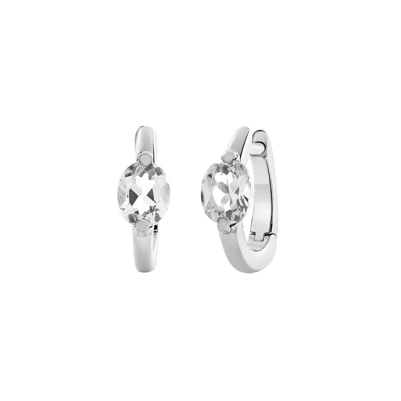 Mini silver hoop earrings with white topaz, J03272-01-WT, hi-res