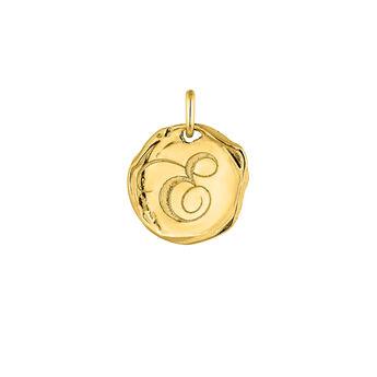 Gold plated Initial e medal pendant, J04641-02-E, hi-res