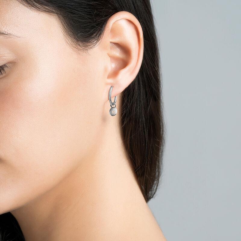 Silver M letter necklace, J03455-01-M, hi-res