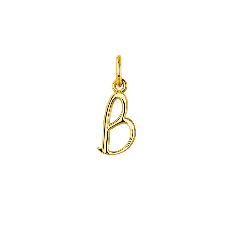 gold plated initial B necklace, J03932-02-B, hi-res