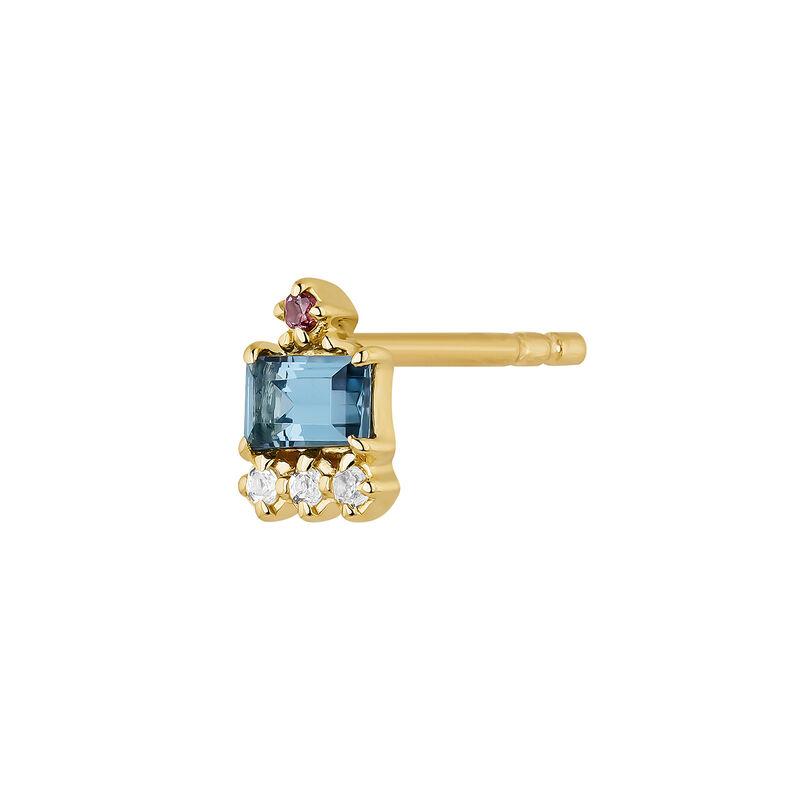 Boucle d'oreille baguette argent plaqué or, J04654-02-WT-LB-RO-H, hi-res