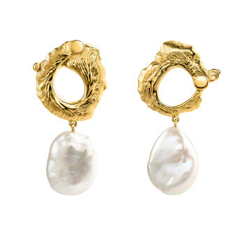 Oval gold plated pearl earrings, J04052-02-WP, hi-res