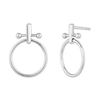 Pendientes aro barra piercing plata, J04318-01, hi-res