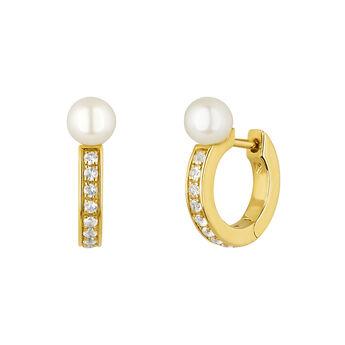 Pendientes aro topacios y perla plata recubierta oro, J04738-02-WT-WP, hi-res