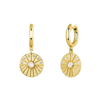 Gold plated circular pendant hoop earrings, J04129-02-WT-WMS, hi-res