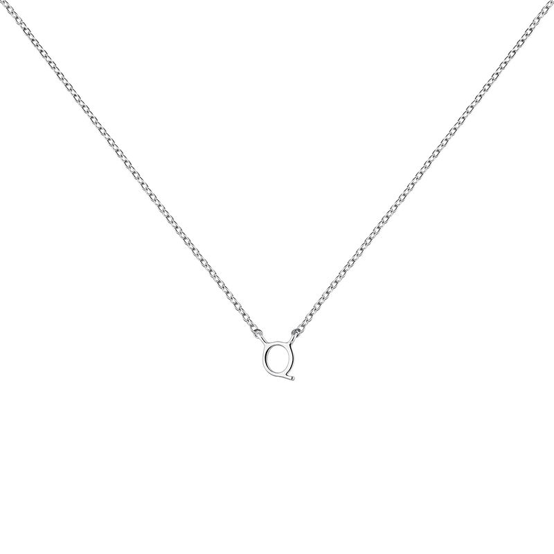 Collier iniciale Q or blanc, J04382-01-Q, hi-res