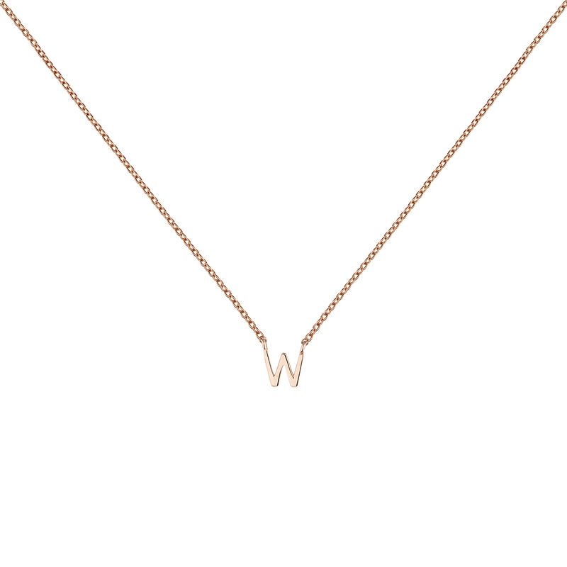 Rose gold Initial W necklace, J04382-03-W, hi-res