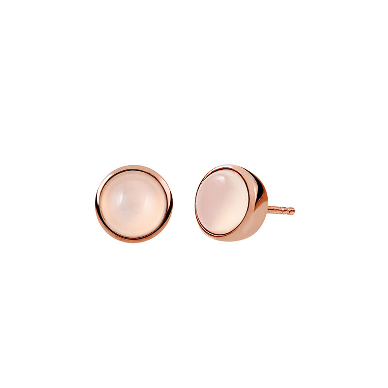 Rose gold plated cabochon earrings, J01975-03-WMS, hi-res
