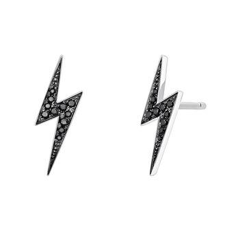 Boucles d'oreilles éclair spinelle argent, J03629-01-BSN, hi-res