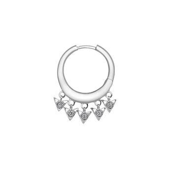 Boucle d'oreille piercing créole 10 diamants or blanc 0,097 ct, J03388-01-H, hi-res
