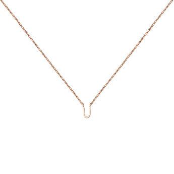 Rose gold Initial U necklace, J04382-03-U, hi-res