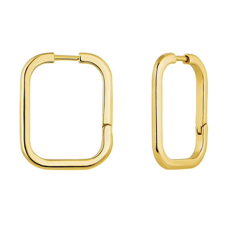 Big squared gold plated earrings, J04645-02, hi-res