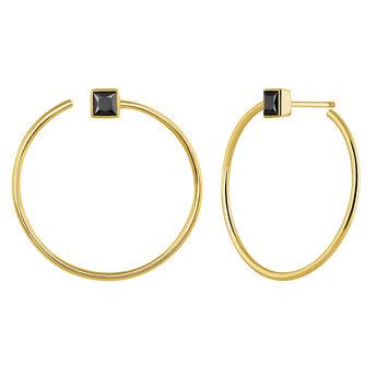 Hoop earrings spinel gold, J04091-02-BSN, hi-res