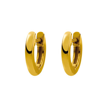 Small gold plated simple hoop earrings, J01444-02, hi-res