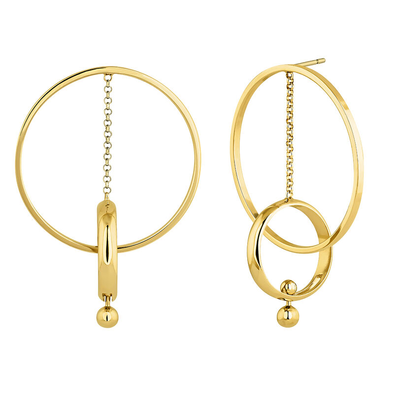 Gold plated silver piercing bar pendant hoop earrings, J04319-02, hi-res