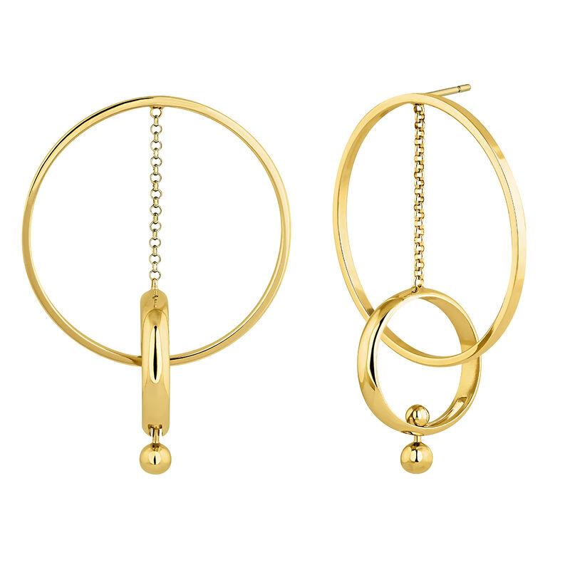 Pendientes aro colgante barra piercing plata recubierta oro, J04319-02, hi-res