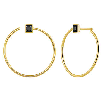Gold plated hoop earrings with spinels, J04091-02-BSN, hi-res