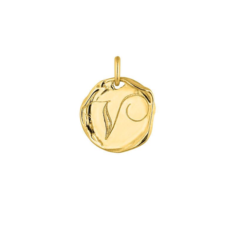 Pendentif médaille initiale V en argent plaqué or, J04641-02-V, hi-res
