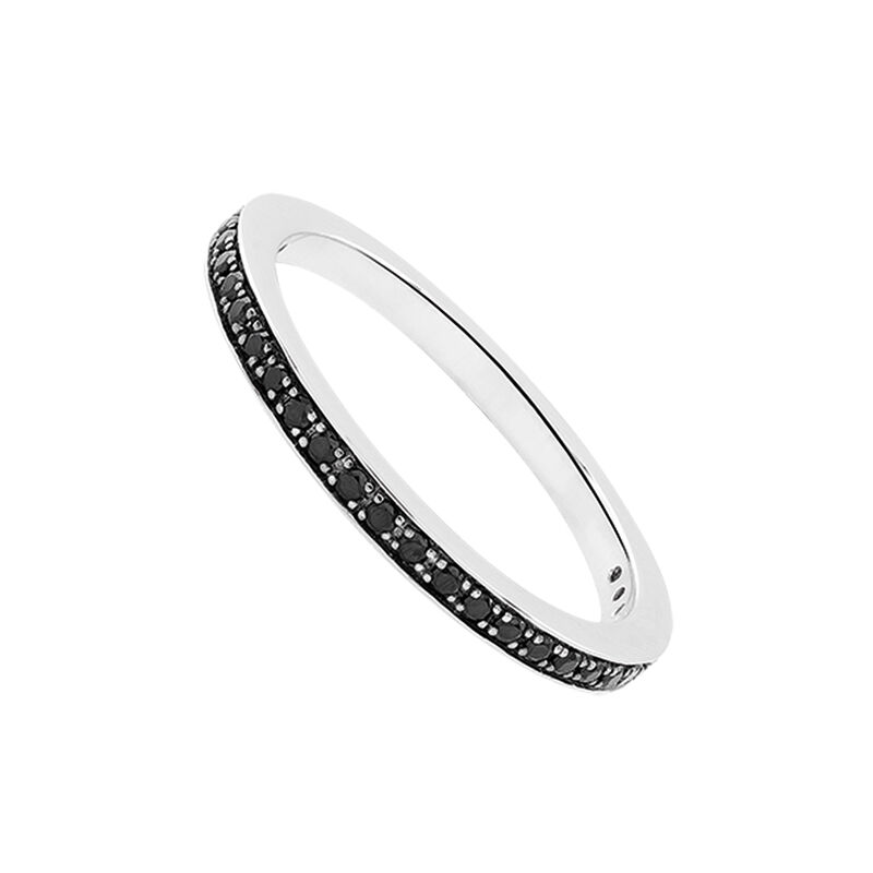 Silver simple ring with spinels, J03264-01-BSN, hi-res