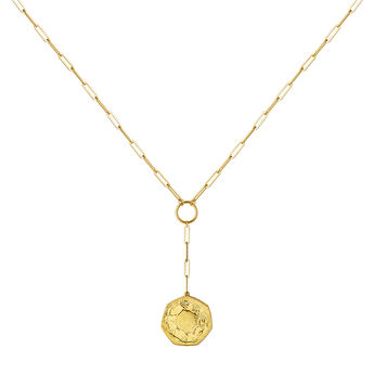 Collier monnaie hexagonale or, J03593-02, hi-res