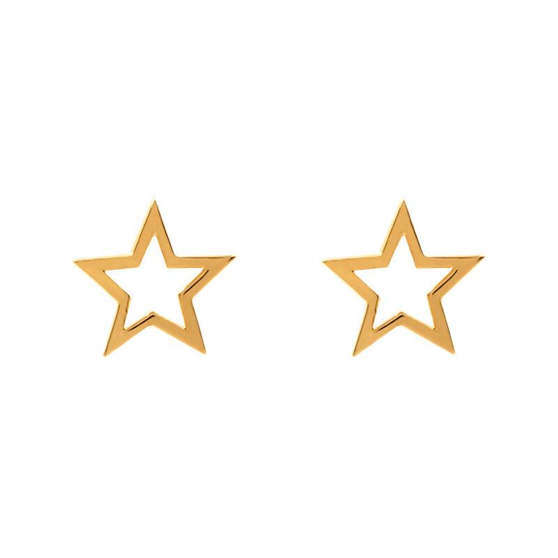 Pendientes estrella hueca oro, J01895-02, hi-res
