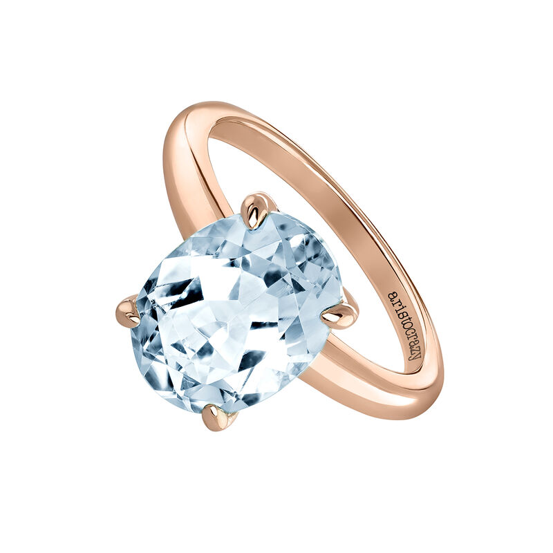 Large oval rose gold plated topaz ring