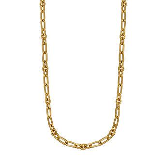 Cadena mix eslabón plata recubierta oro amarillo, J01335-02, hi-res