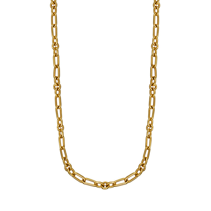 Yellow gold mix links chain, J01335-02, hi-res