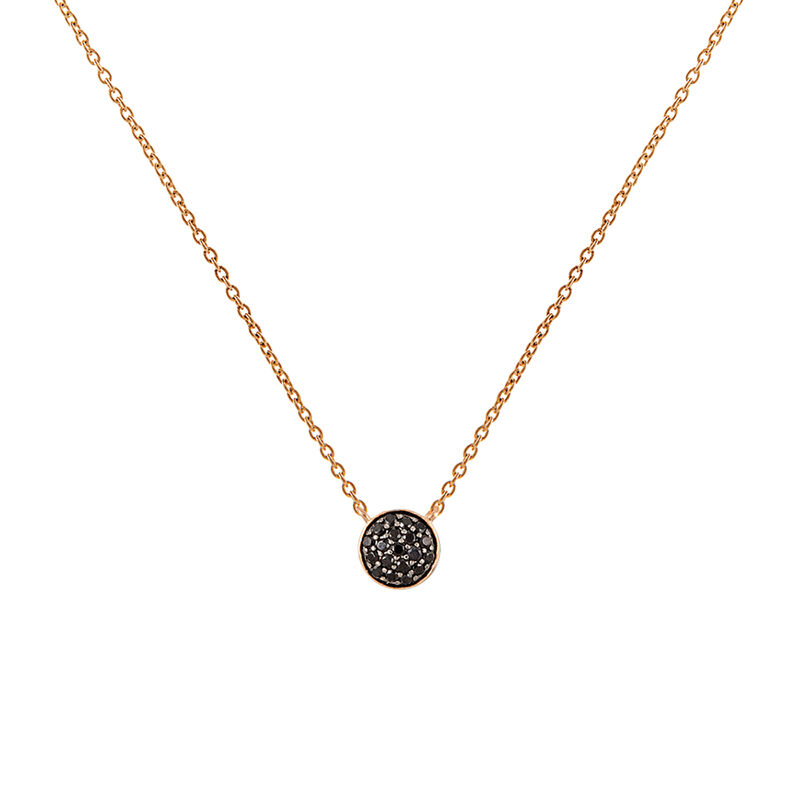 Rose gold plated circle necklace with spinels, J01971-03-BSN, hi-res