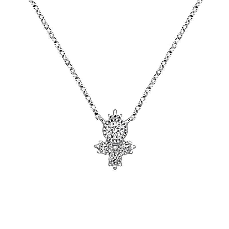 Colgante cuatro diamantes oro blanco 0,0902 ct, J03395-01, hi-res
