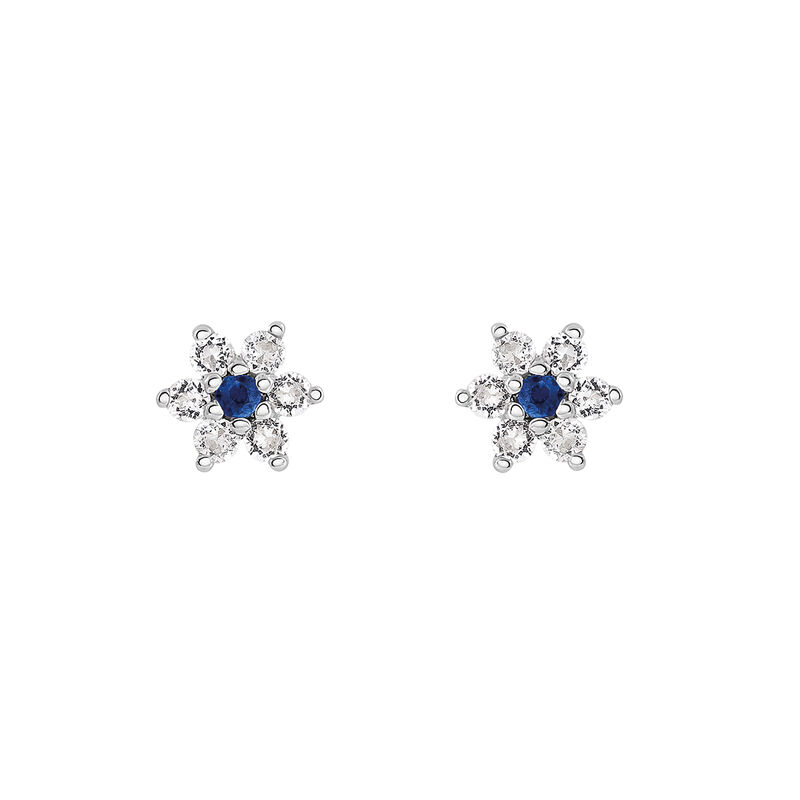 Silver blue sapphire flower earrings, J03331-01-BS-WT, hi-res