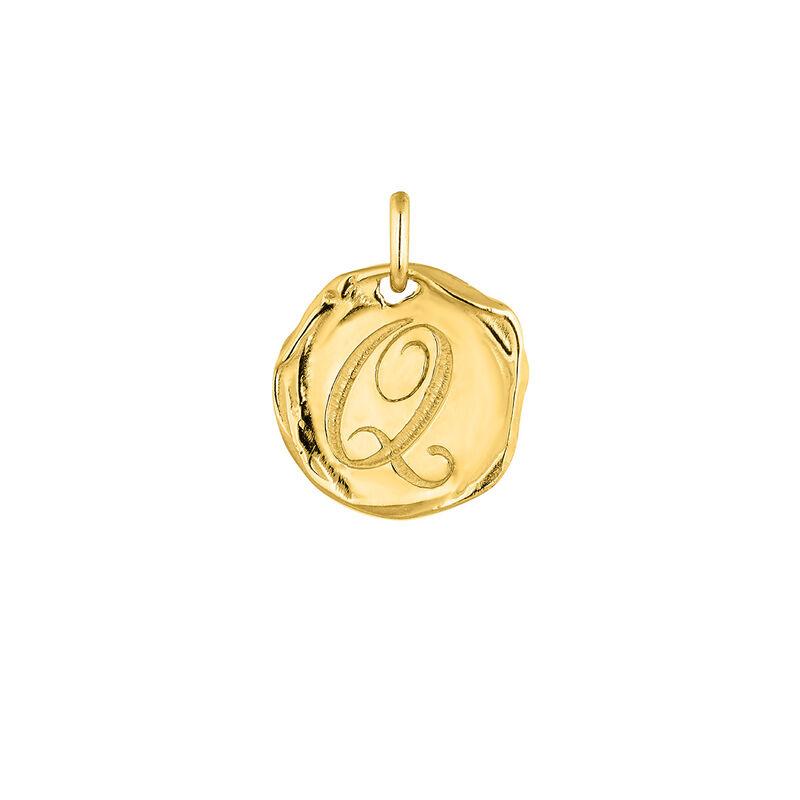 Pendentif médaille initiale Q en argent plaqué or, J04641-02-Q, hi-res