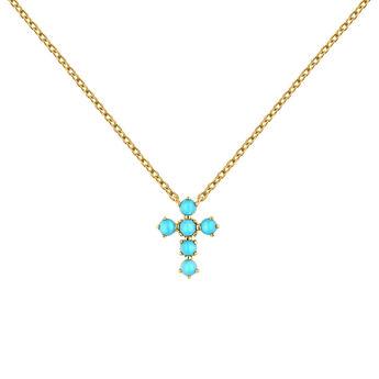 9kt gold turquoise cross necklace, J04709-02-TQ, hi-res