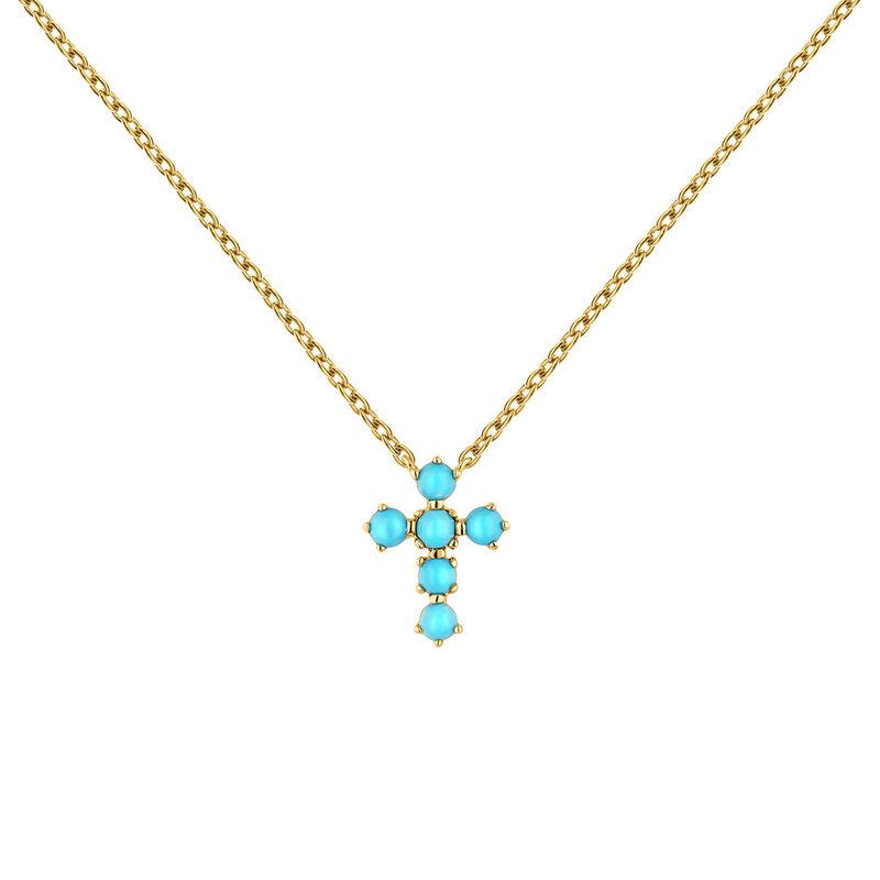 Colgante cruz turquesa oro 9kt, J04709-02-TQ, hi-res