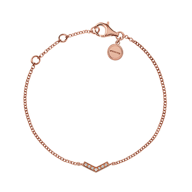 Rose gold plated v-shape bracelet with topaz, J03297-03-WT, hi-res