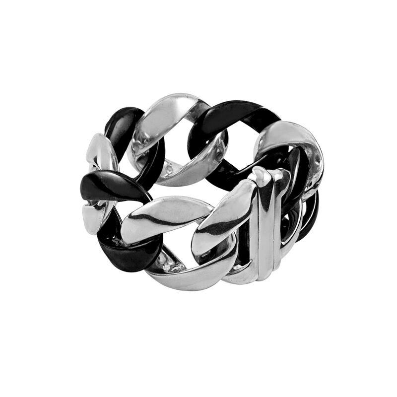 Bracelet gourmette argent céramique, J00720-01-CER, hi-res