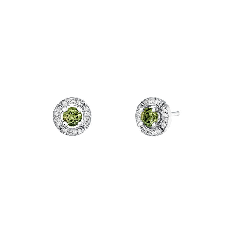 Small silver earrings with green tourmaline and diamond, J03770-01-GTU, hi-res