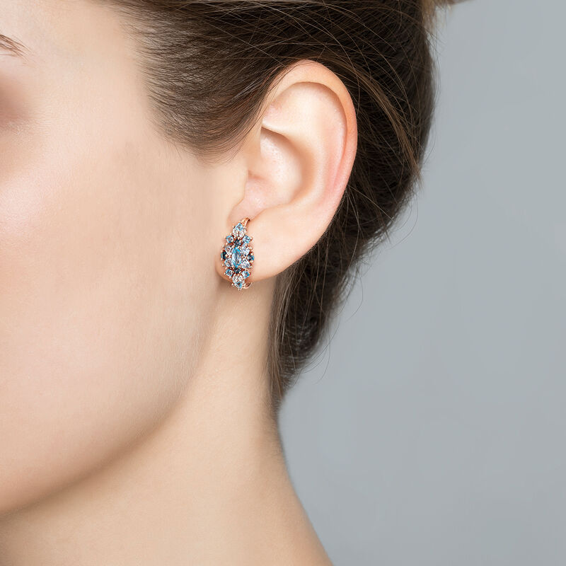 Rose gold plated earring with topaz, J03420-03-LBSBSK, hi-res
