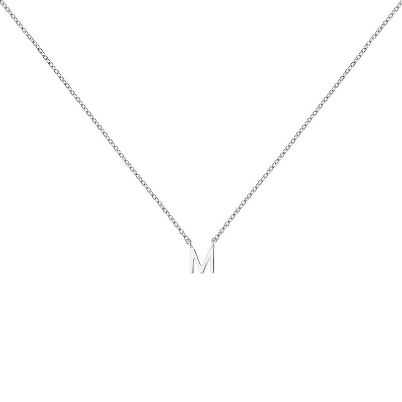 White gold Initial M necklace
