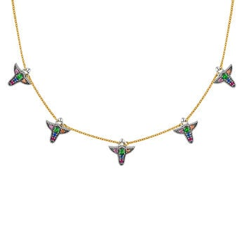 Silver and 9cts multicolor sapphire motif necklace, J04315-10-MULTI, hi-res