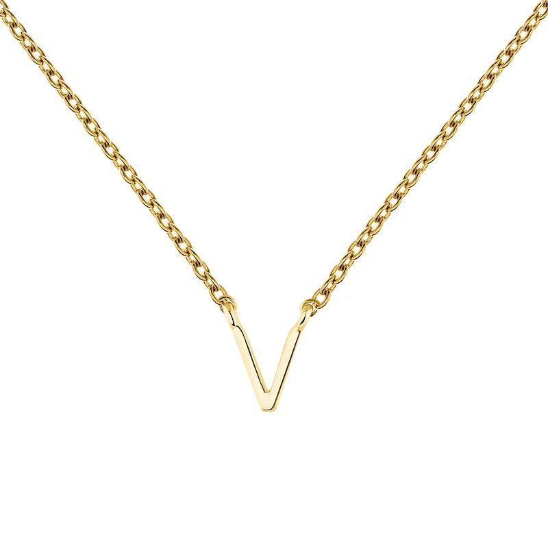 Gold Initial V necklace, J04382-02-V, hi-res