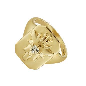 Anillo sello fantasía cuarzo plata recubierta oro, J04564-02-GQ, hi-res