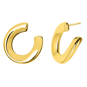 Gold sculptural hoop earrings, J03521-02, hi-res