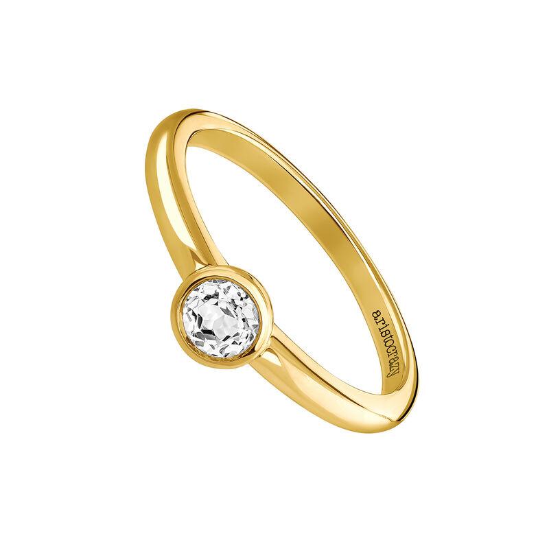 Anillo topacio redonda pequeña plata recubierta oro, J03815-02-WT, hi-res