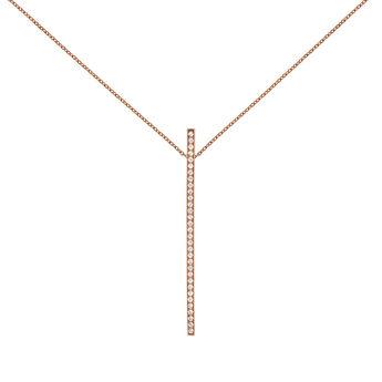 Rose gold topaz pendant necklace, J04035-03-WT, hi-res