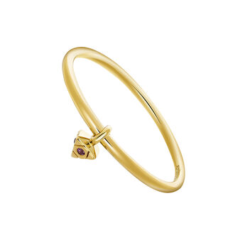 Triangular gold ring with stone, J03571-02-SA, hi-res