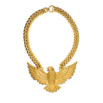 Large gold eagle necklace , J01501-02, hi-res